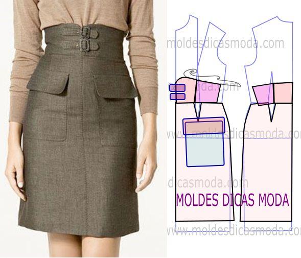 Estude com atenção a execução do molde de saia com bolsos, que está explicada com grande rigor, em pormenor no desenho, para que possa concluir o exercício.