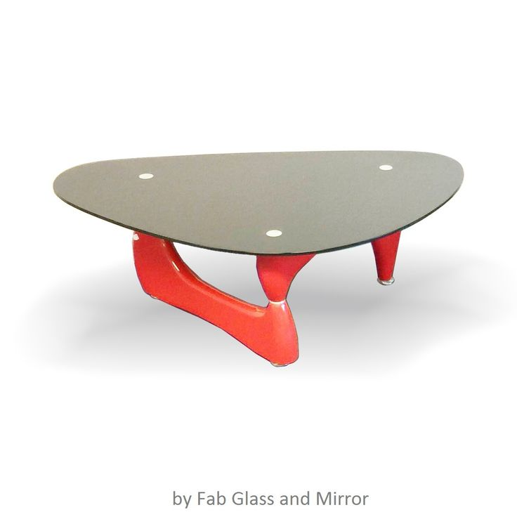 Fab Glass And Mirrors Offers Modern Class Red Color Triangle Coffee Table.  Noguchi Style Coffee Table Red Color With Black Glass Top