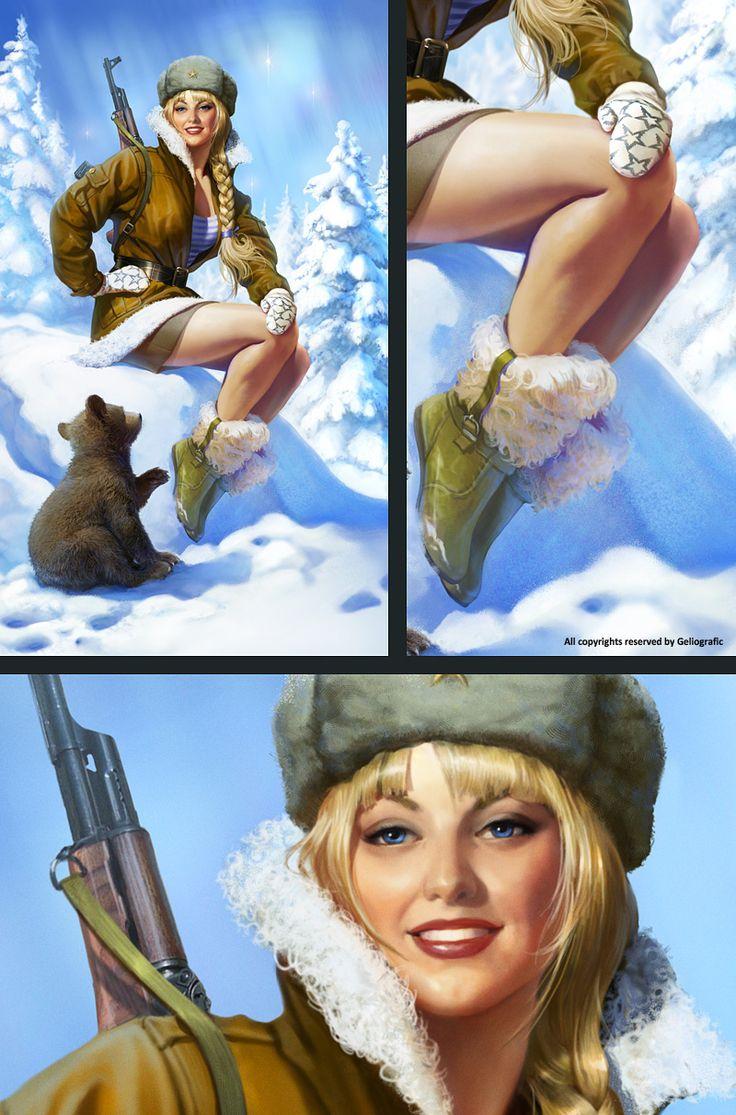 Армейский Pinup Зима - Geliografic / Гелиографик / Дизайн, иллюстрации, 3D графика