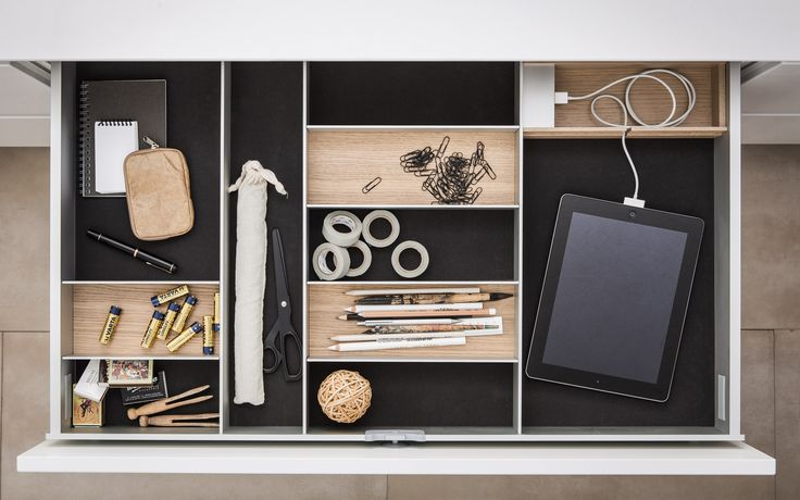 Eliminate the junk drawer: interior accessories from SieMatic bring order to your chaos, with attractive aesthetics and practical features like soft flocking to keep any item in place.