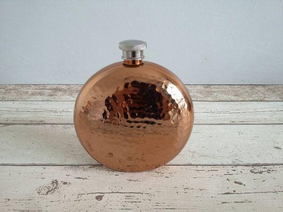 Vintage Round Hammered Copper Flask // 8oz Flask