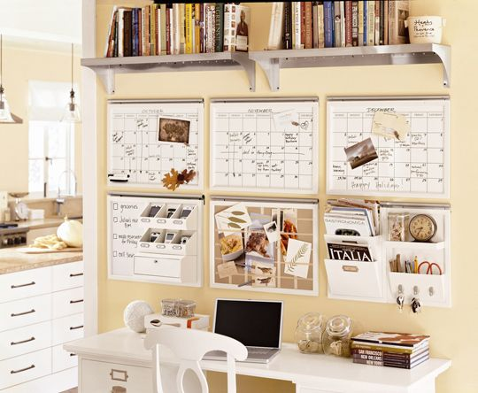 White boards and wall organizers.