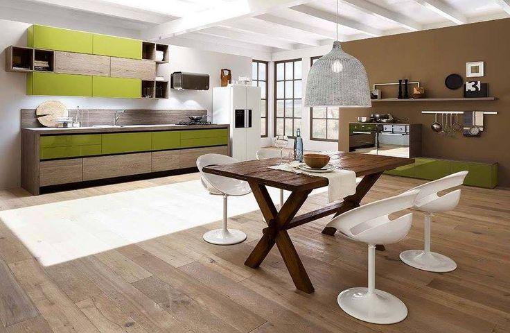 Cucina Papaia effetto legno Savana con finitura e tonalità sobrie resa eccentrica da un tocco di verde oliva e giochi vari di cambi profondità...