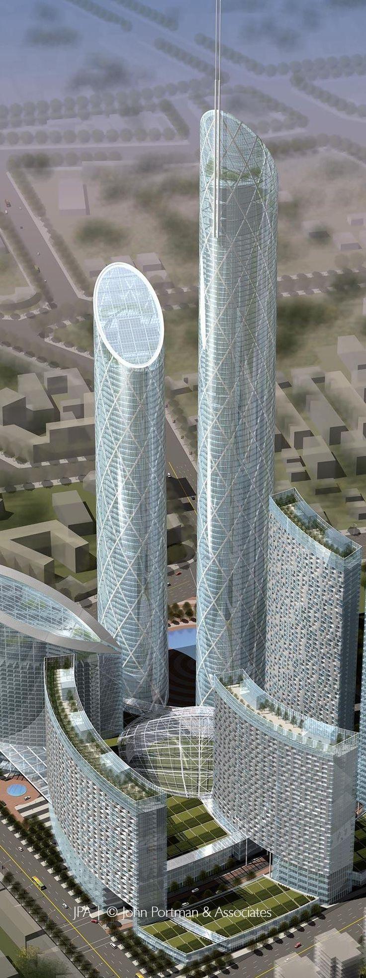 Eton Shenyang Center, Shenyang, China by John Portman Architects :: 97 floors, height 384m, proposal