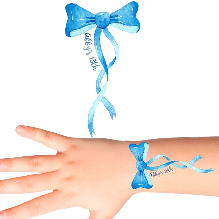 Bow Birthday Personalised Tattoos #1144 (16 pack)