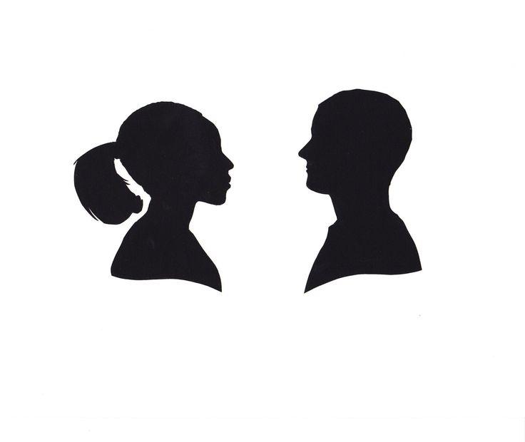 Custom Silhouette Portrait Papercut Pair.