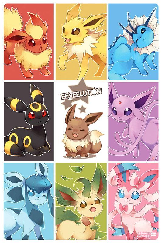 "There's a new Eeveelution in town! 11x17"" poster of digital prints of illustrations by Finni Chang."