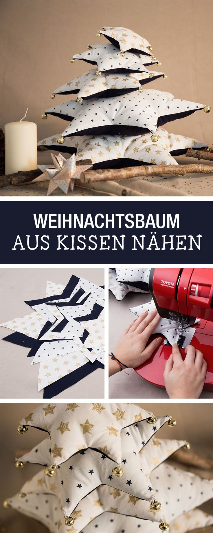 Weihnachtliche Nähanleitung für einen Weihnachtsbaum aus Kissen / cute christmas sewing tutorial: sew a cushion christmastree via DaWanda.com