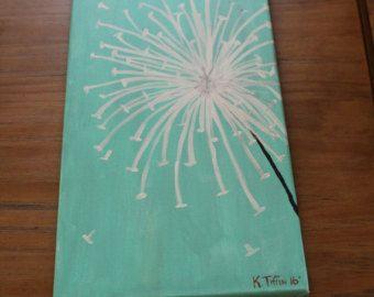 Ähnliche Artikel wie Gray and White Dandelion Painting auf Etsy