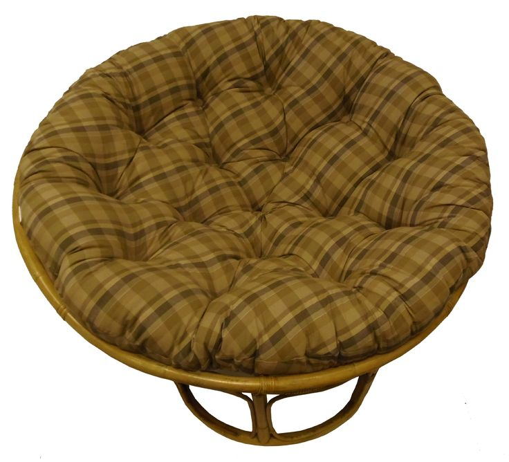 Cotton Craft Papasan Reversible Plaid Tan Overstuffed Chair Cushion, Sink into our Thick Comfortable and Oversized Papasan, Pure 100% Cotton duck fabric, Fits Standard 45 inch round Chair