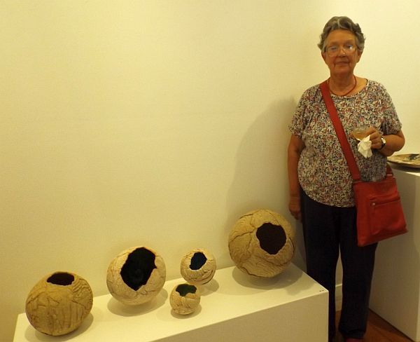 Ingrid Adler exhibiting artist at the opening for Mudlarks, Strathnairn Arts,  19 February to 15 March 2015