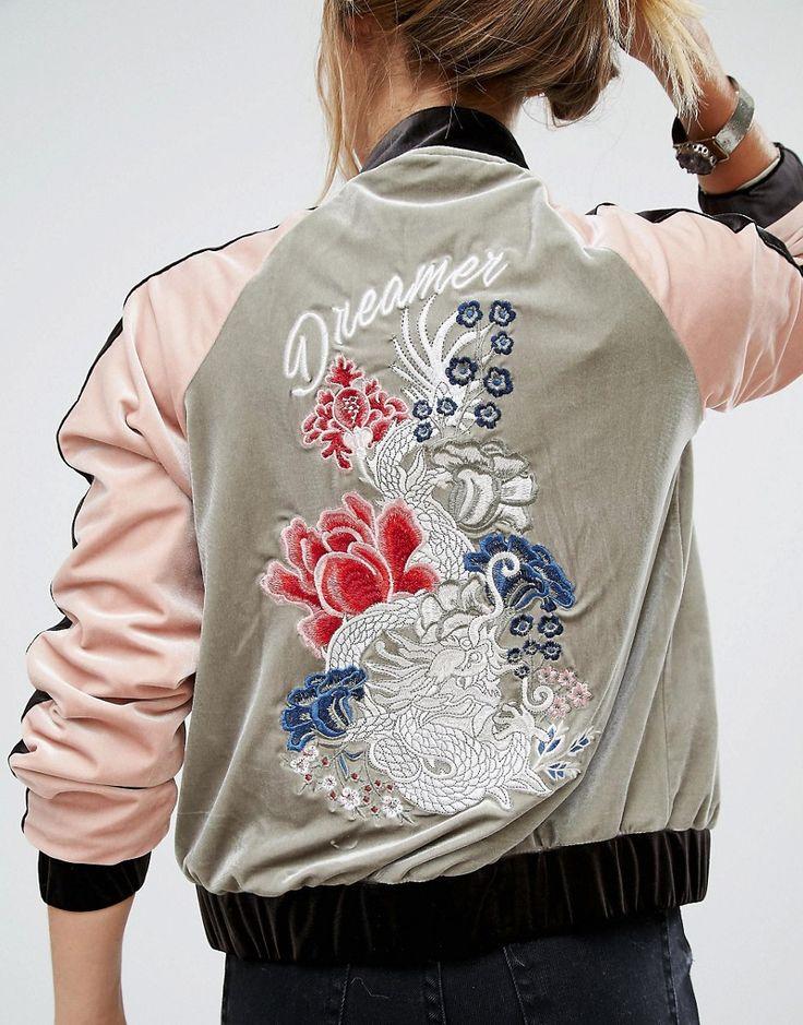 Image 3 ofGlamorous Embroidered Bomber Jacket In Velvet