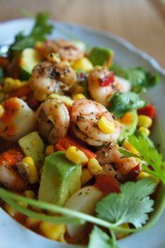 Gourmandises et Merveilles: Salade mexicaine toute légère aux crevettes !