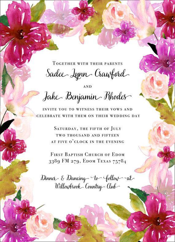 Fucsia y rubor acuarela Floral invitaciones Set por papernpeonies