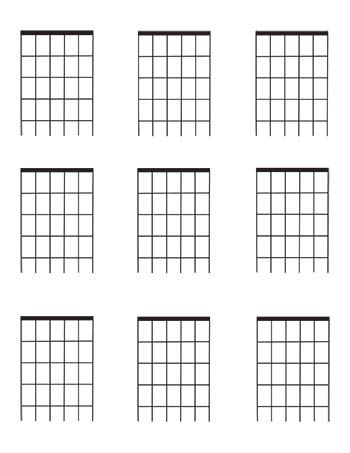 Guitar Fretboard Diagrams Four Fret Blank Template 9 Per Page