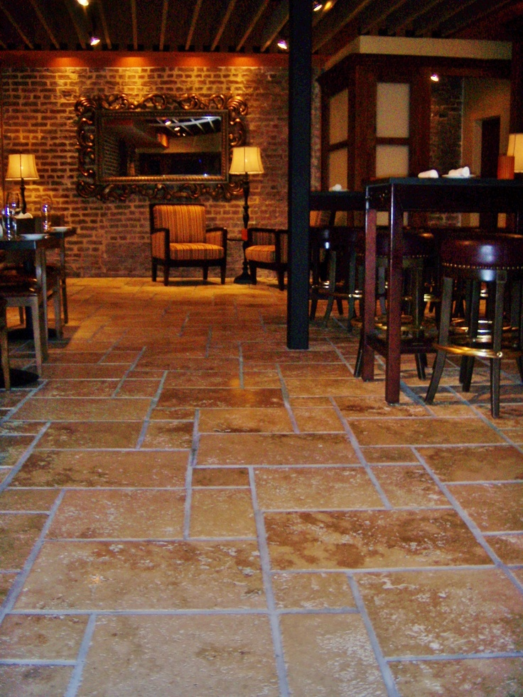 Travertine Floors Set In The Versaille Pattern Flooring