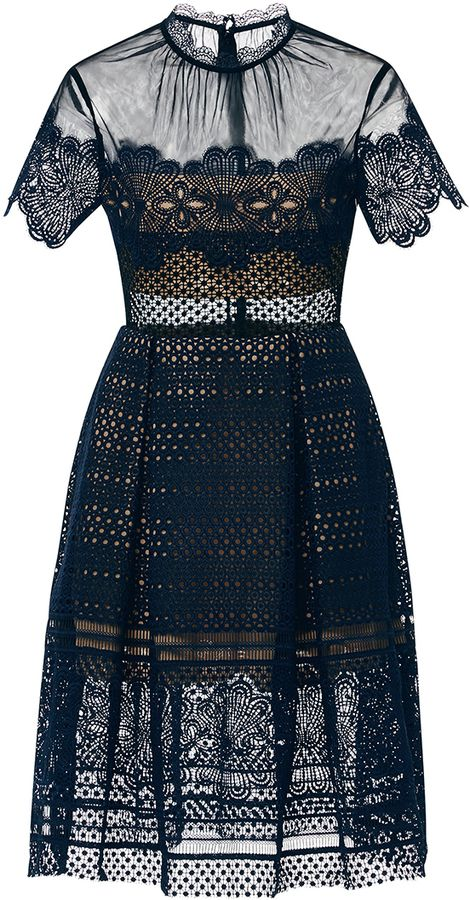 Self Portrait Felicia Embroidered Sheer Lace Dress