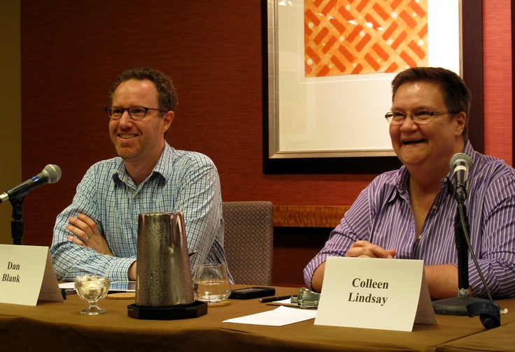 Dan Blank from WeGrowMedia.com and Colleen Lindsay from Penguin's Book Country at Thrillerfest 2012 in New York