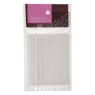 ROBERTS WHITE LOLLYPOP STICKS 100MM PACK OF 50