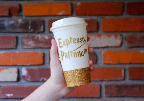 Tasse à espresso Patronum café, cadeau de Harry Potter, Poudlard, Harry Potter tasse à café, or paillettes travel mug