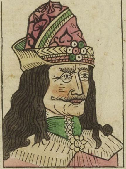 Vlad the Impaler, from a woodcut published in 1488, author unknown (Wikipedia)