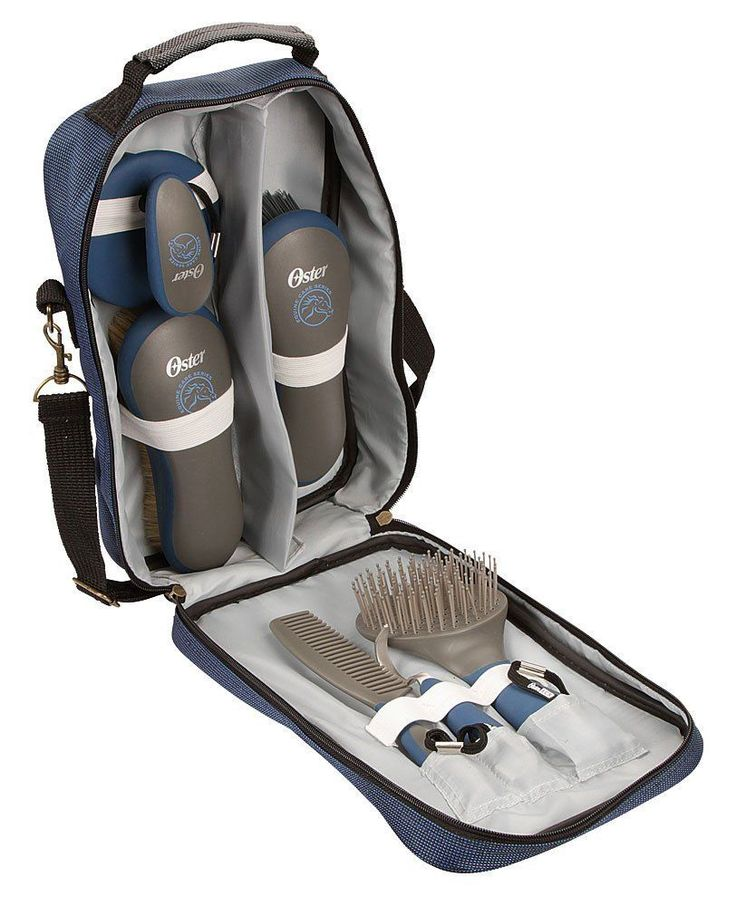 OSTER Equine Horse Grooming Tote kit 7 pc set BLUE pony Brush Hoofpick Currycomb #DoesNotApply