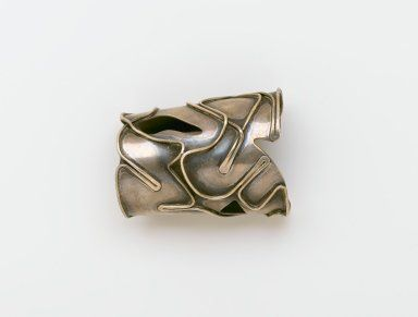 """Art Smith (American, born Cuba, 1917-1982). <em>""""Baker"""" Bracelet</em>, ca. 1959. Silver, 2 1/2 x 2 7/8 x 3 3/4 in. (6.4 x 7.3 x 9.5 cm). Brooklyn Museum, Gift of Charles L. Russell, 2007.61.18. Creative Commons-BY (Photo: Brooklyn Museum, 2007.61.18_PS2.jpg)"""