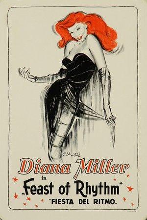 Lauritz.com - Grafik - Christel Marott. Plakat, 'Diana Miller. Feast of Rhythm', litografi, 1900-tallets midte (cd) - DK, Vejle, Dandyvej