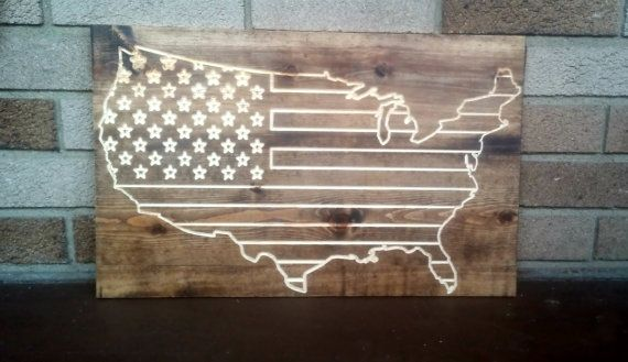 USA Flag - Reclaimed wood art, Wall Decor, Memorial Day, Holiday Gift, 4th of July - Mitten Made Woodcrafts