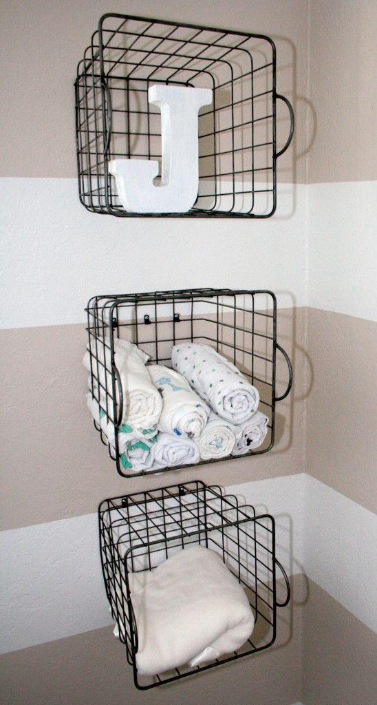 Project Nursery - Striped Beige Nursery Storage Caddys