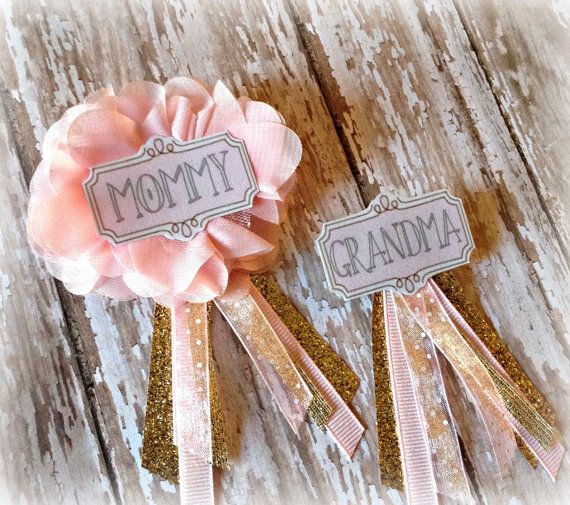 Pink & Gold Baby Shower Badges for Mommy, Daddy, Grandmas & Aunties