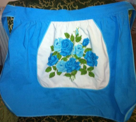 Turquoise fifties vintage apron waist ties, floral design, small size