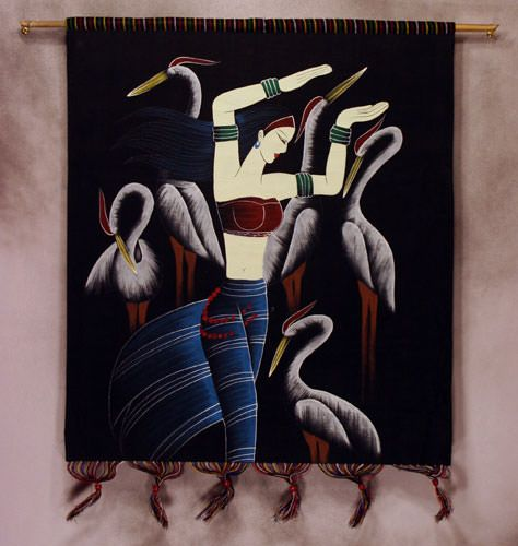 Tribal Ethnic Woman and Birds Colorful Batik Wall Hanging Art