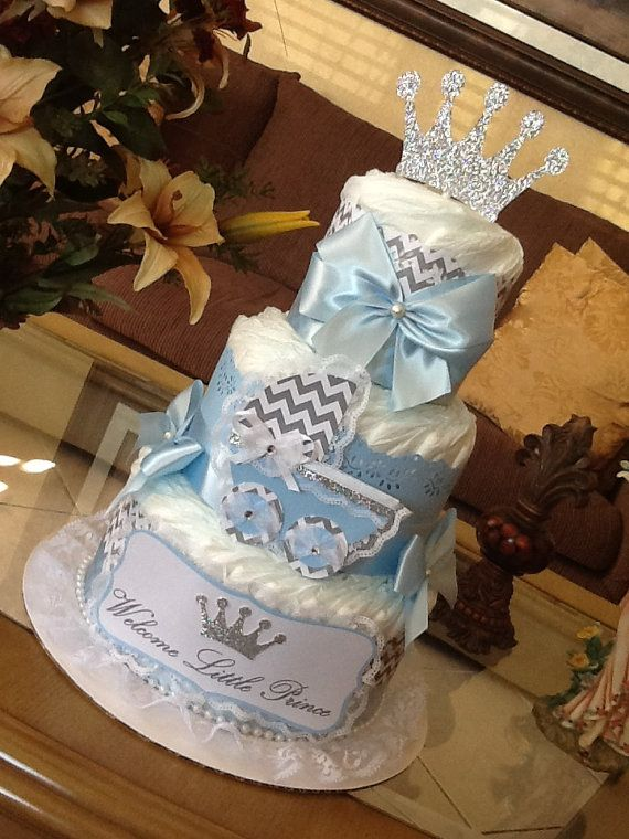 Prince diaper cake/Welcome little prince diaper by InspiredbyElena