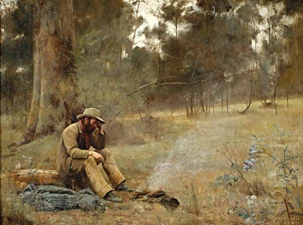 Frederick McCubbin. Down on his luck. 1889 (Frederick McCubbin (25 February 1855 – 20 December 1917) was an Australian painter who was prominent in the Heidelberg School, one of the more important periods in Australia's visual arts history.)