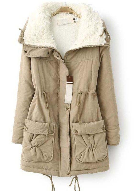 Khaki Plain Drawstring Pockets Thick Cotton Blend Parka