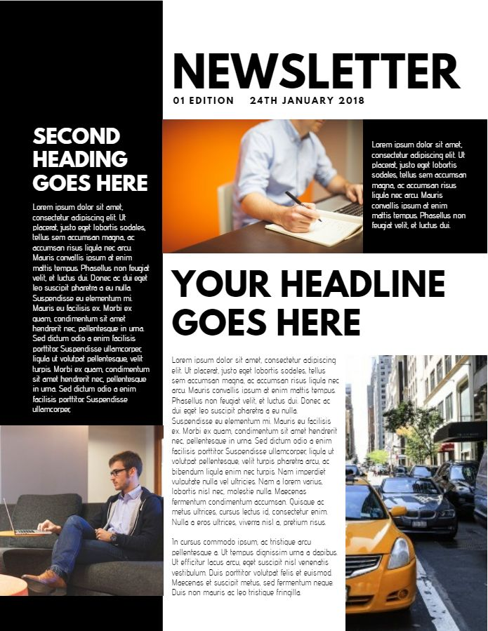 Newsletter sample design. Click to customize.