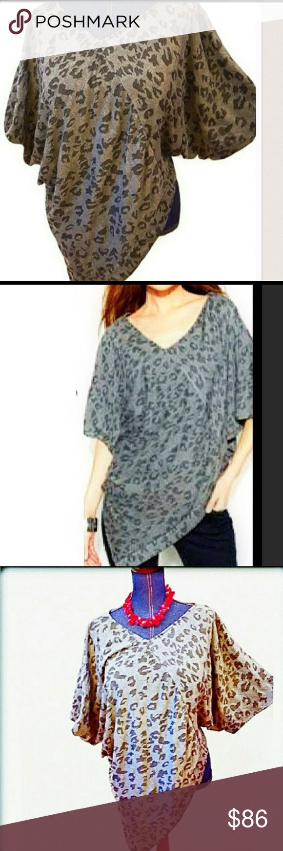 VINCE CAMUTO S/M Animal Print Short Sleeve Top Two by Vince Camuto S/M animal print asymmetrical poncho top. I have this top & just Adore it! Equally fabulous with leggings to lounge in or dressed up with heeled booties & jewelry for a night out. Eye catching Gray & black. Great with leggings/skinny jeans and white skinny capris! NEW w/ tags. SIZE is S/M, since this is not an option, I put both down. EITHER 1 You Choose You Will Receive THE S/M. Any ?, Ask! More of a relaxed fit, IMO. Love…