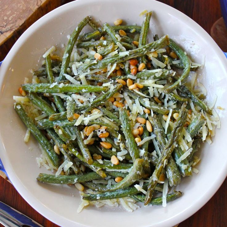 Roasted Green Beans with Garlic, Pine Nuts & Parmigiano-Reggiano