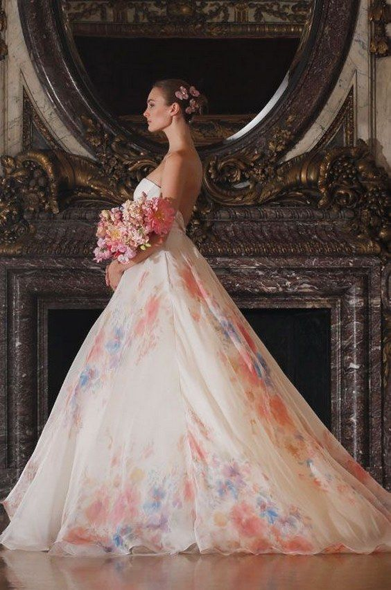 floral print ball gown wedding dress from Romona Keveza Luxe / http://www.deerpearlflowers.com/floral-wedding-dresses/