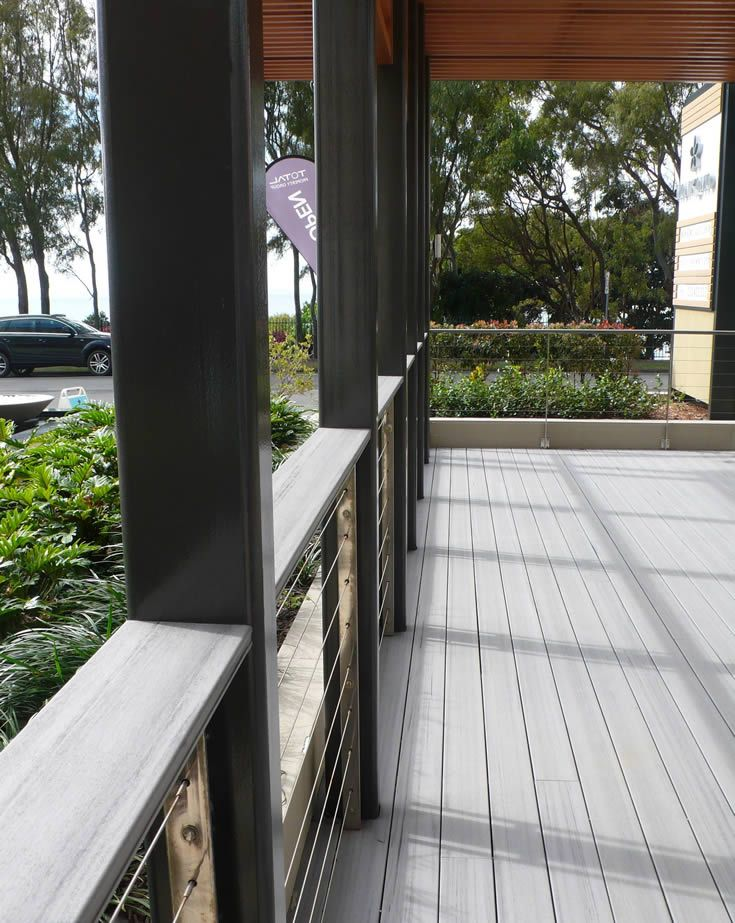 Sahara; building facade built by the beach #ModWood #WideDecking