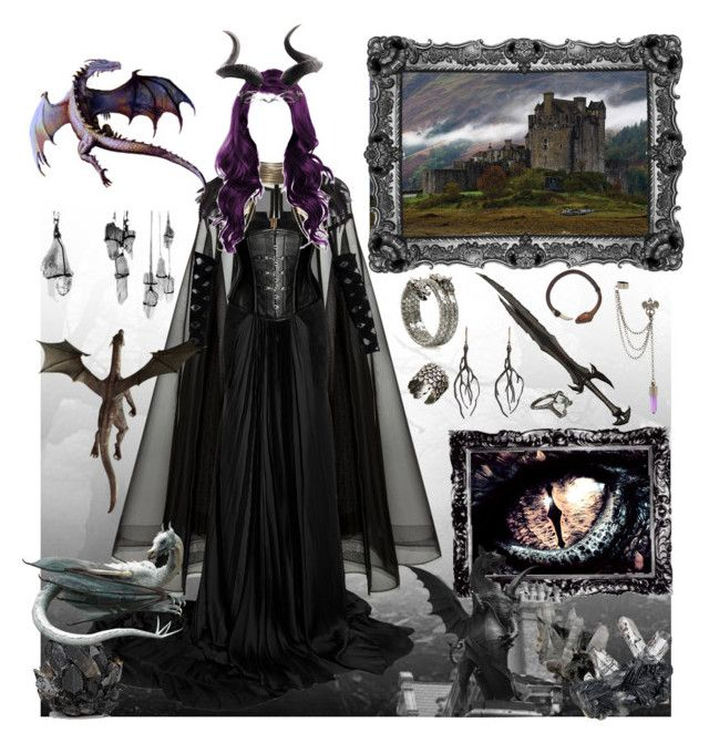 Dragon Queen II by beyond-redemption on Polyvore featuring polyvore, moda, style, Balmain, Alex Perry, Unearthen, Annette Ferdinandsen, Ayaka Nishi, Hot Topic, McCoy Design, John-Richard, River Island, fashion and clothing