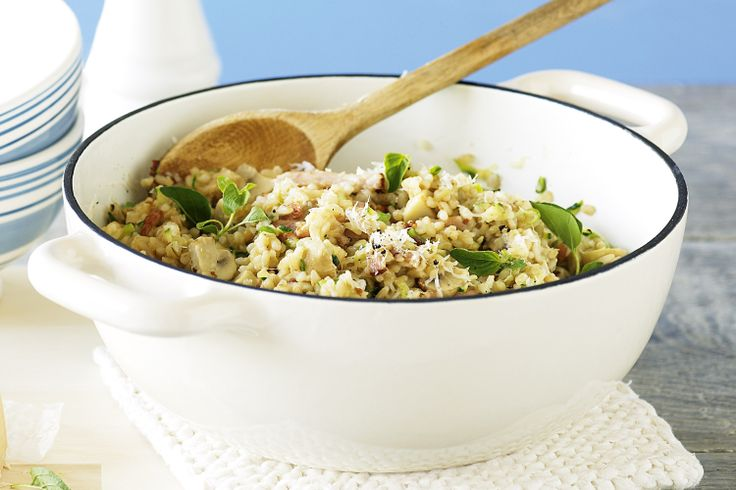 Brown rice gives a nutty texture to this vegie-packed risotto, flavoured with bacon, parmesan and fresh oregano.