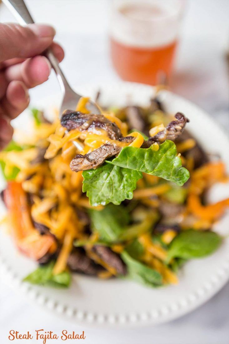 This delicious, easy, fajita salad taste just like restaurant fajitas at home! Get perfect steak fajitas every time for a family pleasing meal.