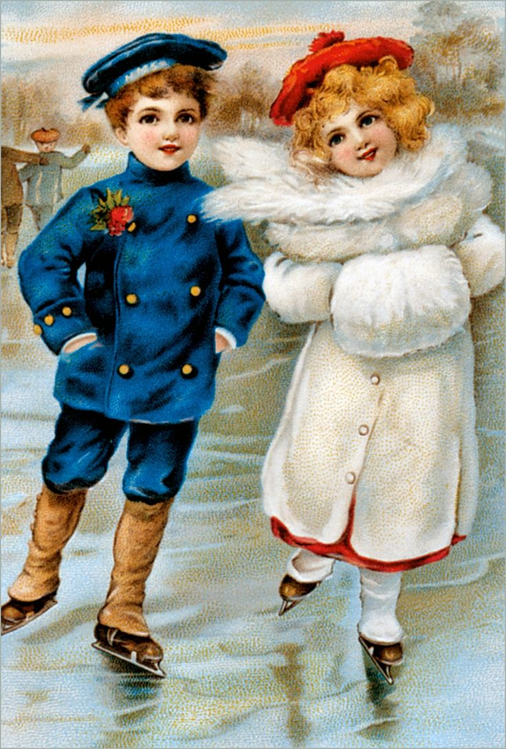vintage winter scene postcard boy in blue suit and girl in white fur coat skating