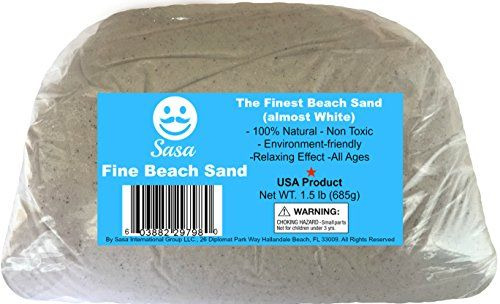 Beach Sand. Real Natural Beach Sand From Florida's West Coast. Pack of 1.5 lb of Premium Fine Natural Sand. 100% Natural Ready to Use. By Sasa  Fine beach sand from the mexican gulf usa.  No free silica or quartz.  100% natural and environmentally friendly - good to create a tropical ambient in your home or for your pets, like lizards, desert reptiles.  Etc.  This white pearled sand is excellent for mini - zen gardens, air plants, terrariums, mini sand boxes.  Relaxing effect, anti-str...