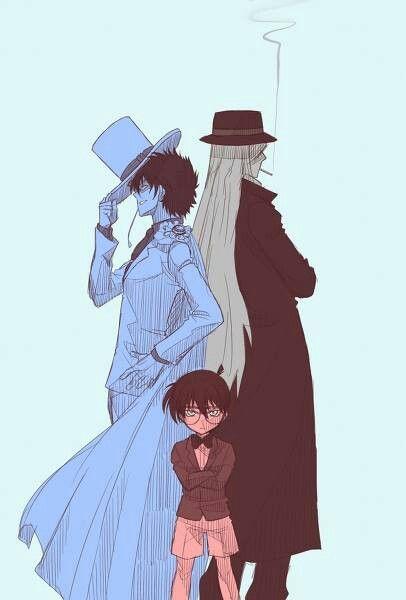 Kaito Kid, Gin, and Edogawa Conan