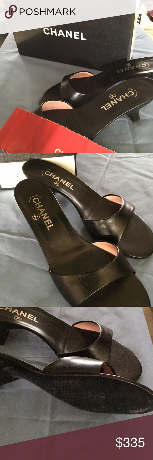 """Authentic and exquisite CHANEL Classic Mule Slide The perfect pair of shoes! For the gal who has everything... The Chanel Mule pump is the classic staple with a comfortable 2.5"""" heel and very good condition. Box is not included but come gift wrapped with gift. Make me an offer. #Chanel steal #Chanel pump #Chanel slipper #Chanel shoe #Chanel dress shoe CHANEL Shoes Sandals"""