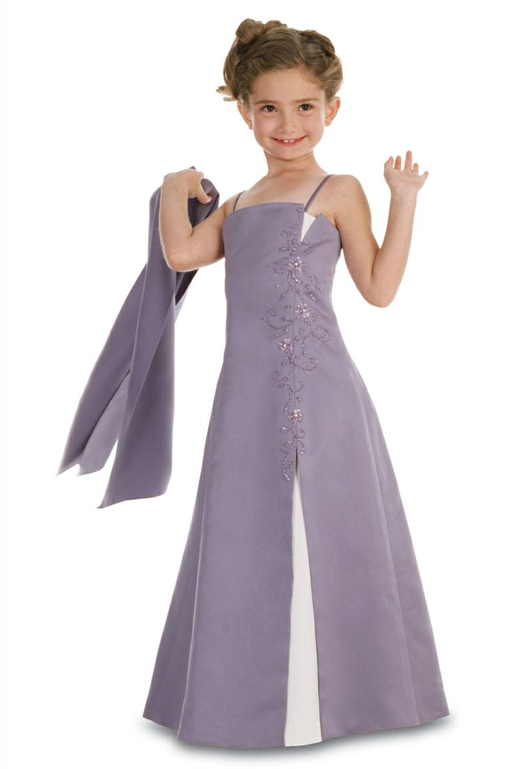 Spaghetti Straps Floor Length Junior Brides Dress in blue on the twins