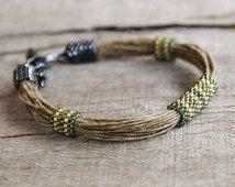 Bijoux hippie, bracelet lin, vert bracelet perlé, bracelet Shabby shic, verte bijoux tribaux, bijoux africain naturels, cadeau pour un ami